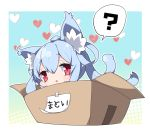 1girl ? animal_ear_fluff animal_ears bangs blue_hair blush box cardboard_box cat_ears cat_girl cat_tail character_name chibi commentary eyebrows_visible_through_hair hair_between_eyes hair_ribbon halftone halftone_background heart in_box in_container kemonomimi_mode long_hair matoi_(pso2) milkpanda parted_lips phantasy_star phantasy_star_online_2 red_eyes ribbon solo spoken_question_mark tail tail_raised translated