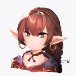 1girl bangs braid brown_hair choker cloak earrings eyebrows_visible_through_hair granblue_fantasy haaselila harvin highres hoop_earrings jewelry long_hair pointy_ears ribbon_choker shinosatsu simple_background single_braid tagme