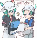 ! 2girls :d :o backpack backpack_removed bag bag_removed black_gloves black_hair black_shirt blue_eyes blue_vest breast_pocket chestnut_mouth commentary elbow_gloves gloves gradient_hair green_hair grey_pants hair_between_eyes hat hat_feather holding holding_backpack holding_bag jacket kaban_(kemono_friends) kemono_friends kyururu_(kemono_friends) light_bulb long_hair low_ponytail multicolored_hair multiple_girls open_backpack open_bag open_mouth pants pocket red_shirt shirt short_hair short_sleeves shorts simple_background smile spoilers spoken_exclamation_mark spoken_light_bulb tanaka_kusao translated two-tone_hair vest white_background white_shorts