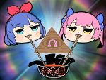 2girls bangs bkub blue_bow blue_eyes blue_hair blush blush_stickers bow bowl commentary eating eye_of_providence eyebrows_visible_through_hair food hair_bow hair_ribbon hairband half-closed_eyes instant_ramen jitome multicolored multicolored_background multiple_girls noodles nori_(seaweed) omega_rei omega_rio omega_sisters omega_symbol open_mouth pink_hair portrait red_hairband red_ribbon ribbon short_hair translated twintails virtual_youtuber yellow_eyes