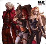 1boy 2girls belt belt_buckle black_choker black_gloves black_pants blue_eyes breasts brown_eyes buckle choker closed_mouth coat dagger dante_(devil_may_cry) devil_may_cry devil_may_cry_2 english_text et.m fingerless_gloves gloves gun handgun highres holding holding_dagger holding_gun holding_weapon long_hair lucia medium_hair multiple_girls navel pants pink_lips pistol red_coat redhead short_hair silhouette simple_background standing thigh_strap tight trish_(devil_may_cry) weapon white_background white_hair zipper zipper_pull_tab