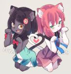 2girls animal_ears arms_up ass-to-ass back-to-back black_hair braid brown_eyes brown_hair cat_ears cat_tail commentary dress fang flower furry green_eyes hair_flower hair_ornament hairclip heart heart_tail heart_tail_duo highres miku_(yuuki_(yuyuki000)) multiple_girls open_mouth original paw_pose short_hair sleeveless sleeveless_dress smile tail twin_braids yuuki_(yuyuki000)