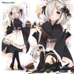 1girl alternate_costume apron baretto_(firearms_1) black_legwear black_skirt blue_hair breasts commentary_request enmaided eyebrows_visible_through_hair hair_ornament hair_over_one_eye hairclip hamakaze_(kantai_collection) high_heels kantai_collection large_breasts looking_at_viewer maid maid_headdress multiple_views one_eye_closed open_mouth parted_lips pleated_skirt short_hair skirt thigh-highs translated wa_maid white_apron white_hair