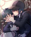 2boys absurdres ahoge baseball_cap black_hair black_headwear black_jacket black_theme blurry blurry_background blush cellphone character_name commentary_request danganronpa dated dual_persona eyelashes from_behind grabbing grin hand_on_another's_face hand_on_own_chest happy_birthday hat highres jacket long_sleeves male_focus monokuma multiple_boys nanin necktie new_danganronpa_v3 pale_skin phone saihara_shuuichi school_uniform shirt short_hair smile striped striped_jacket sweat sweatdrop teeth translated white_shirt yellow_eyes