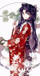 1girl bangs black_bow blue_eyes bow breasts closed_mouth fate/stay_night fate_(series) feet_out_of_frame floral_print frills from_side hair_bow holding japanese_clothes kimono long_hair long_sleeves looking_at_viewer medium_breasts obi parted_bangs patterned pen print_kimono purple_hair red_kimono sash smile solo source_request standing toosaka_rin two_side_up very_long_hair white_background yaoshi_jun
