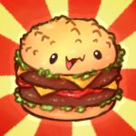 :3 beef black_eyes cheese commentary english_commentary food full_body hamburger happy krocodilian lettuce no_humans open_mouth original simple_background smile solo sunburst sunburst_background tomato two-tone_background