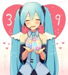 1girl 39 aqua_hair bangs bare_shoulders blush closed_eyes commentary detached_sleeves hair_between_eyes hair_ornament hatsune_miku headset heart heart_background holding long_hair necktie nokuhashi smile solo standing translated upper_body vocaloid wings