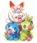 arms_up blue_eyes buck_teeth commentary full_body gen_8_pokemon grass green_eyes grookey hands_up happy holding holding_poke_ball looking_at_another looking_to_the_side looking_up no_humans open_mouth orange_eyes poke_ball poke_ball_(generic) pokemon pokemon_(creature) scorbunny simple_background sitting smile sobble white_background yamaarashi
