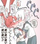 2girls abarai575 anger_vein blush constricted_pupils food long_hair multiple_girls orange_hair pocky pocky_kiss school_uniform serafuku short_hair sweat translated ueno-san_wa_bukiyou ueno_(ueno-san_wa_bukiyou) white_hair yamashita_(ueno-san_wa_bukiyou) yuri