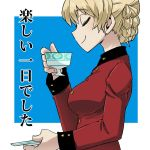 1girl aono3 bangs blonde_hair blue_background braid closed_mouth commentary cup darjeeling epaulettes eyebrows_visible_through_hair from_side girls_und_panzer holding holding_cup holding_saucer jacket long_sleeves military military_uniform outside_border red_jacket saucer short_hair smile solo st._gloriana's_military_uniform teacup tied_hair translated uniform upper_body