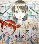 3girls aki_(girls_und_panzer) artist_name bangs birthday birthday_cake blue_shirt brown_eyes brown_hair bt-42 building cake candle closed_eyes commentary confetti dated eyebrows_visible_through_hair fang food girls_und_panzer green_eyes ground_vehicle hair_tie highres hood hoodie light_blush light_brown_hair light_rays long_hair looking_at_viewer mika_(girls_und_panzer) mikko_(girls_und_panzer) military military_vehicle miyao_ryuu model_tank motor_vehicle multiple_girls no_hat no_headwear ok_sign open_mouth outdoors photo_(object) pointing pointing_up redhead shirt short_hair short_twintails signature smile tank traditional_media translated twintails v-shaped_eyebrows w