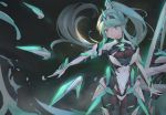 1girl armor bangs black_background breasts character_name gloves greek_text green_eyes green_hair headpiece highres kiiro_kimi large_breasts long_hair looking_at_viewer neon_trim pneuma_(xenoblade_2) ponytail science_fiction simple_background solo spoilers standing swept_bangs tiara very_long_hair xenoblade_(series) xenoblade_2
