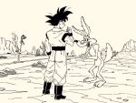 1boy boots cactus commentary crossover dougi dragon_ball dragon_ball_z lee_(dragon_garou) looney_tunes monochrome mountain muscle nib_pen_(medium) open_mouth pointing pointing_at_self road_runner_(looney_toons) son_gokuu tongue tongue_out traditional_media wile_e_coyote wristband
