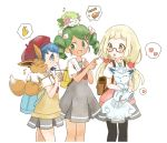 3girls alolan_form alolan_vulpix backpack bag black_legwear blonde_hair blue_eyes blue_hair commentary_request dark_skin dress drinking drinking_straw eevee from_side gen_1_pokemon gen_4_pokemon glasses green_eyes green_hair highres holding holding_pokemon koedo lillie_(pokemon) long_hair mao_(pokemon) multiple_girls open_mouth pantyhose pokemon pokemon_(anime) pokemon_(creature) pokemon_on_head pokemon_on_shoulder pokemon_sm113 pokemon_sm_(anime) red-framed_eyewear red_headwear school_uniform shaymin short_hair short_sleeves simple_background suiren_(pokemon) trial_captain twintails vulpix white_background