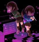 2others androgynous black_background blue_sweater blush_stickers bob_cut boots brown_hair brown_legwear brown_shorts chara_(undertale) closed_eyes counter cowboy_hat frisk_(undertale) green_sweater gun hat hat_removed headwear_removed holding holding_gun holding_money holding_weapon leaning_forward money multiple_others shop short_hair shorts smile striped striped_sweater supunyange sweater undertale weapon |_|