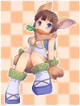 1girl animal_ears bangs bare_shoulders blue_eyes blush breasts breasts_apart bunny_tail carrot checkered checkered_background chrono_cross cleavage_cutout closed_mouth fur janice light_blush looking_at_viewer medium_breasts monster_girl nose_blush oosuzu_aoi paws rabbit_ears short_hair sleeveless smile solo tail tile_background