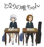 2girls :o bag black_jacket black_legwear blazer blue_bag blue_footwear blue_neckwear blue_ribbon bob_cut book brown_eyes brown_hair chair commentary crossover desk eraser guitar_case hair_ornament hair_strand hairclip hirasawa_yui imagining instrument_case jacket k-on! kneehighs looking_to_the_side mechanical_pencil multiple_girls narumero open_mouth pantyhose parody pencil pencil_case ribbon school_bag school_uniform shirt shoes short_hair silver_hair simple_background sitting skirt title_parody tonari_no_seki-kun translated uwabaki white_background white_legwear white_shirt writing yokoi_rumi