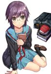 1girl bag black_legwear book bookmark brown_eyes brown_footwear cardigan collarbone expressionless eyebrows_visible_through_hair full_body glasses kita_high_school_uniform long_sleeves looking_at_viewer minami_ikkei miniskirt nagato_yuki neck_ribbon purple_hair red_neckwear ribbon school_bag school_uniform serafuku shoes short_hair simple_background sitting skirt socks solo suzumiya_haruhi_no_yuuutsu white_background