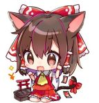 1girl animal_ears ascot bangs bare_shoulders blush bow box brown_eyes brown_hair cat_ears cat_tail chibi commentary_request detached_sleeves donation_box eyebrows_visible_through_hair fang frilled_shirt_collar frills hair_between_eyes hair_bow hakurei_reimu hands_up kemonomimi_mode long_sleeves lowres natsuki_(ukiwakudasai) ofuda open_mouth paw_pose red_bow red_skirt simple_background sitting skirt skirt_set solo sparkle tail tail_bow torii touhou translated wariza white_background wide_sleeves yellow_neckwear yen_sign