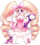 blonde_hair blood blue_eyes bow don_(macaron_panda13) dress drill_hair earrings eyepatch full_body hands_up harime_nui heart heart_earrings highres huge_bow jewelry kill_la_kill kneeling long_hair looking_at_viewer open_mouth pink_bow pink_dress scissor_blade simple_background smile sparkle twin_drills very_long_hair white_background