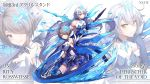 2girls ahoge armor armored_dress artist_name bangs bare_shoulders blue_legwear boots breasts character_name choker closed_mouth commentary_request dark_persona detached_collar diamond-shaped_pupils dress ekusufeito elbow_gloves energy_wings eyebrows_visible_through_hair floating_weapon gloves grey_hair hair_between_eyes hair_ornament hair_over_one_eye highres holding holding_scythe honkai_(series) honkai_impact_3rd ice jewelry kiana_kaslana_(herrscher_of_the_void) large_breasts long_hair looking_at_viewer medium_breasts multiple_girls multiple_views polearm rita_rossweisse rita_rossweisse_(artemis) scythe short_hair sidelocks silver_hair smile spear symbol-shaped_pupils thigh-highs very_long_hair weapon yellow_eyes