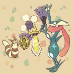:3 aegislash arm_up arms_up beige_background black_sclera blush blush_stickers closed_eyes from_side full_body furret gen_2_pokemon gen_6_pokemon greninja hand_up happy heart jumpluff long_tongue music musical_note no_humans one-eyed open_mouth pokemon pokemon_(creature) shield shiwo_(siwosi) singing smile standing star sword tongue tongue_out weapon
