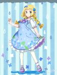 1girl alternate_costume aqua_nails artist_name blonde_hair blue_background blue_dress blue_flower blush closed_mouth clouds dress fingernails flat_chest flower frilled_dress frills full_body green_eyes hair_flower hair_ornament hair_tie hand_up happy light_blush lillie_(pokemon) long_hair looking_at_viewer miu_(miuuu_721) multi-tied_hair nail_polish outline pantyhose petticoat pokemon pokemon_(game) pokemon_sm puddle purple_footwear rain see-through shiny shiny_hair shoes short_sleeves signature smile solo standing striped striped_background tied_hair twintails white_flower white_legwear white_outline