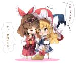 2girls adapted_costume apron blonde_hair blouse blush boots braid broom brown_hair chibi collarbone commentary contemporary crepe d: eyewear_on_head fishnet_pantyhose fishnets food green_eyes hakurei_reimu hat indirect_kiss jacket kirisame_marisa long_hair long_skirt medium_hair multiple_girls nose_blush open_mouth pantyhose piyokichi plaid plaid_skirt shared_food side_braid single_braid skirt square_mouth star sunglasses thought_bubble touhou track_jacket translated vest waist_apron wavy_hair white_footwear witch_hat yuri