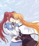 2girls belt black_gloves black_jacket blonde_hair blue_skirt brown_hair cape closed_eyes echiu eyebrows_visible_through_hair fate_testarossa fingerless_gloves floating_hair from_side gloves hair_bun jacket kiss long_hair lyrical_nanoha mahou_shoujo_lyrical_nanoha_strikers multiple_girls neck_ribbon red_ribbon ribbon side_ponytail skirt takamachi_nanoha tsab_air_military_uniform very_long_hair white_cape white_jacket yuri
