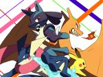 animal_ears black_eyes blue_eyes blush_stickers breathing_fire charizard clenched_teeth dragon fire furry gen_1_pokemon gen_4_pokemon gen_6_pokemon greninja half-closed_eyes hand_up holding holding_weapon long_tongue lucario no_humans open_mouth pikachu pokemon pokemon_(creature) red_eyes sharp_teeth shiwo_(siwosi) shuriken smile standing super_smash_bros. teeth tongue tongue_out water weapon wings wolf_ears