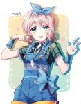 1girl :p alternate_hairstyle aoba_moca bang_dream! bangs blue_bow blue_overalls blue_ribbon bow character_name earrings feather_necklace frills green_eyes green_shirt grey_hair hair_ribbon heart heart_earrings jewelry looking_at_viewer minori_(faddy) overalls plaid plaid_shirt pointing pointing_at_self ribbon shirt short_hair short_sleeves solo tongue tongue_out twintails v-shaped_eyebrows w wrist_cuffs