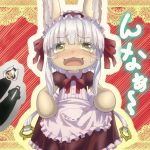 1boy 1girl 1other :3 alternate_costume animal_ears black_hair blush bondrewd clothes_grab commentary_request ddak5843 ears_through_headwear embarrassed enmaided fangs frills furry grin helmet hollow_eyes made_in_abyss maid maid_headdress multicolored_hair multiple_girls nanachi_(made_in_abyss) ozen partial_commentary silver_hair smile sweatdrop tearing_up translated two-tone_hair whiskers white_hair yellow_eyes