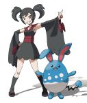 1girl arm_up armpits azumarill bangs black_dress black_hair black_legwear blank_eyes breasts brown_eyes clenched_hand collarbone detached_sleeves dress full_body furisode_girl_(pokemon) furisode_girl_kirika gen_2_pokemon grin hair_tie hand_on_hip happy highres kneehighs looking_at_viewer open_mouth orange_eyes outstretched_arm pointing pokemon pokemon_(creature) pokemon_(game) pokemon_xy red_footwear sandals sash shiny shiny_clothes shiny_hair simple_background sleeveless sleeveless_dress small_breasts smile standing swept_bangs teeth teru_zeta tied_hair twintails white_background
