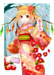 1girl alternate_costume animal animal_on_head arm_up bag bangs bare_tree blonde_hair boar camellia crystal day fang feet_out_of_frame flandre_scarlet floral_print flower forest hair_ornament handbag happy_new_year holding holding_handbag holding_paper japanese_clothes kimono layered_clothing layered_kimono long_sleeves looking_at_viewer nature nengajou new_year obi on_head open_mouth outdoors paper pointy_ears print_kimono red_eyes sakipsakip sash seigaiha short_hair side_ponytail sleeves_past_wrists snowing solo standing touhou translated tree twitter_username wide_sleeves wings