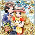 1boy 1girl :d ^_^ ball black_hair black_shirt blue_eyes blue_sky blush calme_(pokemon) chespin chikorita85 closed_eyes closed_mouth clouds cloudy_sky commentary copyright_name day english_commentary eyelashes fennekin flower froakie gen_6_pokemon glasses happy holding holding_ball holding_poke_ball holding_pokemon light_brown_hair long_hair long_sleeves on_head open_mouth orange_eyes pants poke_ball poke_ball_(generic) pokemon pokemon_(creature) pokemon_(game) pokemon_on_head pokemon_xy red_skirt serena_(pokemon) shirt skirt sky smile tied_hair upper_body
