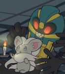 blue_eyes blush candle cinccino cofagrigus coffin extra_arms fire full_body gen_5_pokemon ghost glowing glowing_eyes grin light_blush looking_at_another no_humans open_mouth pokemon pokemon_(creature) red_eyes red_sclera sharp_teeth shiwo_(siwosi) smile standing teeth