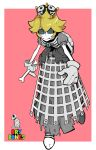 1girl absurdres black_sclera blonde_hair blue_eyes bone buffalo723 character_name crown dress dry_bones eyelashes flipped_hair gloves grey_dress highres mario_(series) new_super_mario_bros._u_deluxe pale_skin pink_background ribs shell short_hair simple_background skeleton solo super_crown turtle_shell walking white_gloves