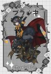 1girl :d adapted_costume black_cape black_flower black_footwear black_gloves black_hair black_headwear black_legwear black_ribbon black_rose black_skirt boots bow cape commentary_request creature_and_personification flower gen_2_pokemon gloves hand_up hat highres index_finger_raised korean_commentary korean_text long_sleeves looking_at_viewer lunch_(lunchicken) multicolored multicolored_cape multicolored_clothes one_eye_closed open_mouth pale_skin pantyhose personification pokemon pokemon_(creature) protected_link puffy_short_sleeves puffy_sleeves red_bow red_cape ribbon rose short_hair short_over_long_sleeves short_sleeves skirt smile solo striped striped_ribbon translated umbreon white_flower white_rose wrist_cuffs