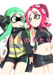 2girls bare_shoulders black_skirt blush commentary_request cover cover_page cowboy_shot eromame fang green_eyes green_hair grey_eyes inkling long_sleeves looking_at_another midriff miniskirt multiple_girls navel octoling open_mouth pink_hair short_shorts shorts skirt splatoon_(series) splatoon_2 splatoon_2:_octo_expansion squidbeak_splatoon tentacle_hair translated white_background zipper