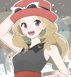 1girl adjusting_clothes adjusting_hat arm_up artist_name bare_shoulders black_shirt blonde_hair blush breasts eyewear_on_headwear grey_eyes hand_up happy hat highres long_hair looking_at_viewer medium_breasts miu_(miuuu_721) open_mouth outline pokemon pokemon_(game) pokemon_xy red_headwear serena_(pokemon) shirt signature sleeveless sleeveless_shirt smile solo sunglasses teeth upper_body white-framed_eyewear white_outline