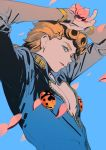 1boy arms_up artist_request blonde_hair blue_background blue_eyes braid bug cleavage_cutout earrings giorno_giovanna highres insect jewelry jojo_no_kimyou_na_bouken ladybug looking_at_viewer male_focus open_mouth petals simple_background solo vento_aureo