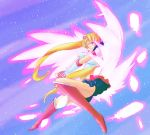 1girl bishoujo_senshi_sailor_moon blonde_hair blue_eyes blue_sailor_collar blue_skirt boots earrings ebi_(sawakura) elbow_gloves eternal_sailor_moon facial_mark floating_hair full_body gloves highres holding holding_staff jewelry knee_boots long_hair miniskirt open_mouth pink_feathers pink_wings pleated_skirt red_footwear sailor_collar sailor_moon sailor_senshi_uniform shirt short_sleeves skirt sky solo staff star_(sky) starry_sky tsukino_usagi twintails very_long_hair white_gloves white_shirt wings