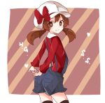 1girl arms_behind_back bad_id bad_pixiv_id bow brown_eyes brown_hair cabbie_hat from_behind hands_clasped hat hat_ribbon kotone_(pokemon) kuromari_(runia) light_smile long_hair looking_at_viewer looking_back overalls own_hands_together pokemon pokemon_(game) pokemon_hgss red_ribbon ribbon smile solo striped striped_background thigh-highs twintails
