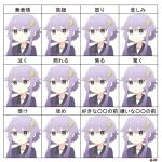 1girl 810_(dadmiral) :| artist_name bangs blue_eyes chart closed_mouth crescent crescent_hair_ornament expression_chart expressions eyebrows_visible_through_hair hair_between_eyes hair_ornament kantai_collection multiple_views neck_ribbon purple_hair ribbon sailor_collar school_uniform serafuku short_hair_with_long_locks translated upper_body yayoi_(kantai_collection)