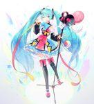 1girl aqua_eyes aqua_hair commentary hatsune_miku highres magical_mirai_(vocaloid) ruk_(spi1116) thigh-highs twintails vocaloid