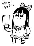 1girl :3 bangs bkub bow commentary greyscale hair_bow hair_ornament halftone hand_on_hip holding holding_tablet_pc ipad long_hair monochrome neckerchief pipimi poptepipic sailor_collar school_uniform scrunchie serafuku shirt shoes sidelocks simple_background skirt socks solo standing tablet_pc translated white_background