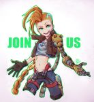 1girl belt belt_buckle braid buckle collar ehdogreen gloves glowing green_eyes highres jacket jewelry jinx_(league_of_legends) league_of_legends long_hair mechanical_arm mohawk navel necklace odyssey_jinx open_hands open_mouth orange_hair outline signature smile tattoo very_long_hair zipper