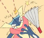 >_< closed_eyes fan folding_fan gen_6_pokemon greninja hand_up head_tilt long_tongue motion_lines no_humans pokemon pokemon_(creature) shiwo_(siwosi) solo star super_smash_bros. sweat tongue tongue_out translation_request upper_body