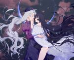 2girls alternate_color ass bangs black_hair blue_eyes clouds cloudy_sky constellation eclipse english_text eye_contact floating_hair glowing green_hair half-closed_eyes hands_on_another's_face hat high_collar highres hime_cut houraisan_kaguya hug japanese_clothes juliet_sleeves kimono long_hair long_skirt long_sleeves looking_at_another messy_hair multiple_girls nurse_cap off_shoulder puffy_sleeves red_eyes red_shirt shiny shiny_skin shirt skirt sky star_(sky) tian_(my_dear) torso_grab touhou very_long_hair white_kimono wide_sleeves yagokoro_eirin yuri