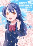 1girl bangs birthday blue_hair blush bow bowtie cherry_blossoms commentary_request dated day eyebrows_visible_through_hair hair_between_eyes hand_in_hair happy_birthday highres katanamaru_(blazeknight) long_hair looking_at_viewer love_live! love_live!_school_idol_project open_mouth otonokizaka_school_uniform outdoors petals red_neckwear school_uniform smile solo sonoda_umi striped striped_neckwear yellow_eyes